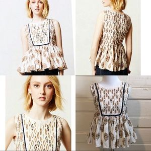 Anthropologie Let Me Be Embroidered Peplum Top
